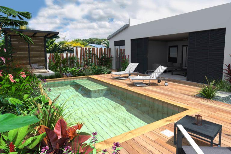 Jardin avec piscine en bois